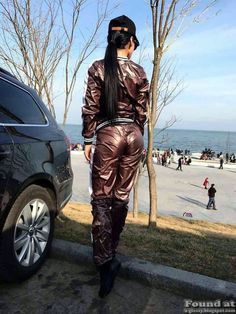 Cool looking spring/summer tracksuits. Matching bottoms and hooded jackets, some of which looks almost liquid. Very glossy indeed. Hardly su...