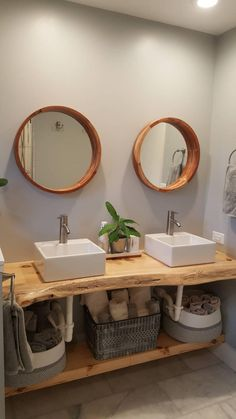 Rustic Bathroom Designs, Modern Farmhouse Bathroom, Bathroom Interior Design, Live Edge Shelves, Wood Sink, Sink Shelf, Wooden Vanity, Upstairs Bathrooms, Bathroom Countertops