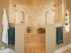 Love the idea of his/hers shower & no doors