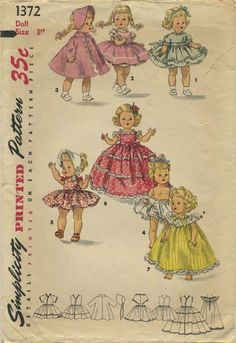 Vintage Doll Clothes Sewing Pattern | Doll's wardrobe suitable for Alexander-Kins, Ginny and Muffie dolls | Simplicity 1372 | Year 1955 | Size 8""