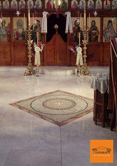 Marble mosaic floor in Agia Kyriaki church, Kastoria, Greece. Marble Mosaic, Screen Printing, Greece, Flooring, Screen Printing Press, Greece Country, Silk Screen Printing, Wood Flooring, Screenprinting