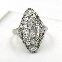 THE ENGRAVING ON THIS RING IS IS FROM CHRISTMAS 1928!!! VINTAGE 1928 18K WHITE GOLD .64 CTTW DIAMOND RING