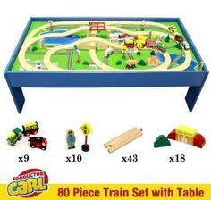 Conductor Carl 80 Piece Train Table and Playboard Set. 100% Compatible with Thomas the Train and Brio. Plus FREE Conductor Carl Train.:Amazon:Toys & Games