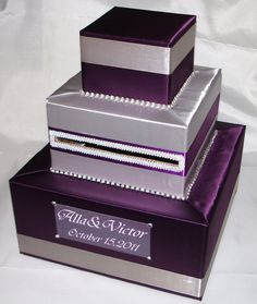 wedding card box purple and silver More