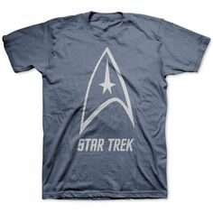 Jem Men's Big & Tall Star Trek Delta Shield Graphic-Print T-Shirt ($10) ❤ liked on Polyvore featuring men's fashion, men's clothing, men's shirts, men's t-shirts, navy heather, mens t shirts, mens long shirts, mens big and tall shirts, mens navy blue shirt and mens long sleeve graphic t shirts