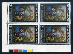 NZ Error 1965 Christmas lower corner selv colour trial blk 4 with entire comb Head doubled, fine mint, 1 hinged, great example