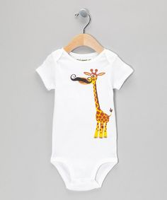 Loving this White Giraffe Stache Bodysuit - Infant on #zulily! #zulilyfinds- To wear when he visits Pepere