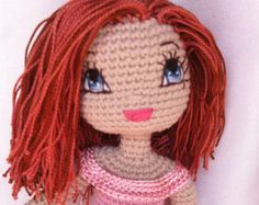 Angelica Crochet Doll PDF Pattern including eyes & mouth embroidery photo tutprial