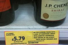 """id-iom-wine-labels-tesco """"Bitter clowns tears with a hint of suspicion. Great with lobster Therimdor. Best drunk in the street. Taste guide: Trouser jazz."""""""