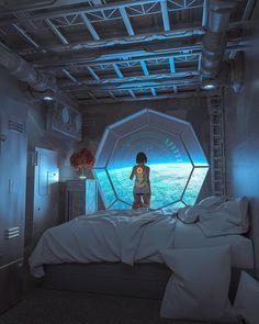 "Man From Mars 2049 — ""Cyberpunk piece I made after The Expanse. Spaceship Interior, Futuristic Interior, Futuristic City, Futuristic Architecture, Futuristic Bedroom, Arte Cyberpunk, Cyberpunk Aesthetic, Cyberpunk Tattoo, Cyberpunk 2077"