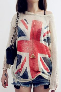 $22.00 | British flag loose knit sweater pullover blouse hollow BA808BD