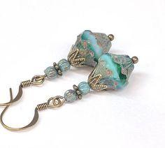 Aqua Blue Green Boho Beaded Earrings Dangle Drop Earrings