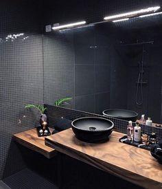 Bathroom finished by . Best Bathroom Designs, Bathroom Design Luxury, Modern Bathroom Design, Apartment Interior, Kitchen Interior, Man Bathroom, Black Interior Design, Toilet Design, Amazing Bathrooms