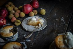 white nectarine & lychee cobbler | two red bowls