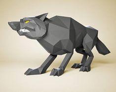 Papercraft Wolf, DIY Papier Skulptur, Papier-Modell, 3D Papier Handwerk, Papercraft Tiere, DIY-Geschenk, Papercraft PDF-Muster, 3D Papier-Vorlage