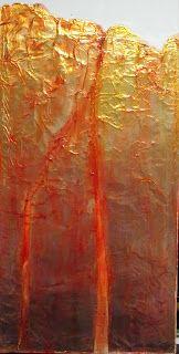 "CAROL NELSON FINE ART BLOG: ""RED CLIFF"" 11011, daily painter aluminum abstract © Carol Nelson Fine Art"