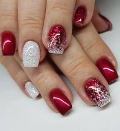 Christmas Gel Nails, Christmas Nail Art Designs, Diy Holiday Nails, Christmas 24, Christmas Glitter, Simple Christmas, Red Nail Designs, Winter Nail Designs, Nagellack Design