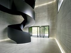 ro-w: public record office basel-landschaft, liestal, switzerland. Detail Architecture, Contemporary Architecture, Interior Architecture, Interior Design, Black Staircase, Staircase Design, Metal Stairs, Modern Stairs, Basel