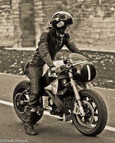 serious rider on a Norton. RocketGarage Cafe Racer: Manx Beauty