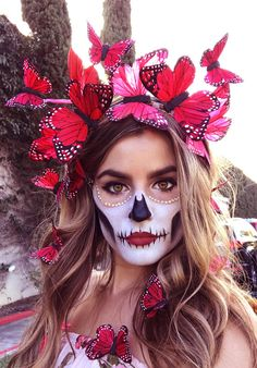 Day of the Dead Halloween Butterfly Crown Red Corazon Butterfly Crown Fascinator Makeup Clown, Sugar Skull Makeup, Costume Makeup, Sugar Skull Halloween Costume, Sugar Skull Face Paint, Baby Skeleton Costume, Eye Makeup, Mask Makeup, Doll Makeup