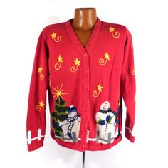 Ugly Christmas Sweater Vintage Cardigan by purevintageclothing Snowmen
