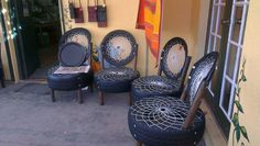 """Recycled car tyre chairs at the County Pumpkin in Barrydale."""