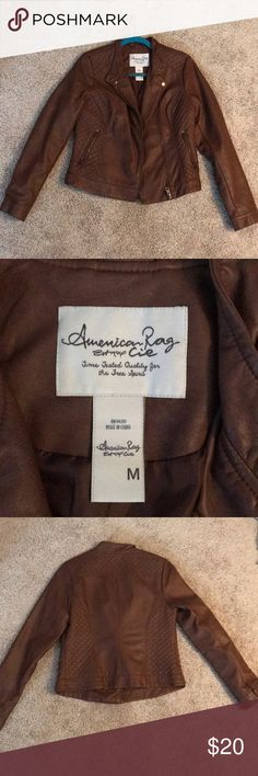 Brown faux leather jacket American Rag Size M, never worn, fantastic condition! American Rag Jackets & Coats