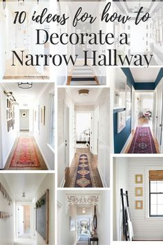 Inspiration and ideas on how to decorate your narrow hallways! This post rounds up 10 gorgeous hallways with great ideas for the lighting, flooring, and walls in your boring hall. decor ideas hallway Hallway Decorating Ideas for Your Narrow Hallway Hallway Walls, Hallway Wall Decor, Hallway Flooring, Dark Hallway, Entryway Decor, Hallway Lighting, Entryway Ideas, Modern Hallway, Hallway Paint Colors