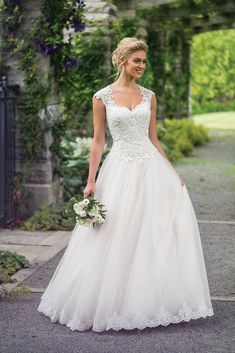 Beaded Corded Lace and Tulle Ball Gown with Queen Anne Neckline