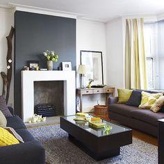 Black fireplace. Maybe blackboard paint in kitchen diner?