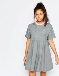 Image 1 ofLazy Oaf Jersey Retro T-Shirt Dress With Puppy Icon