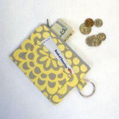 Flower Gray & Yellow Zipper Change Purse