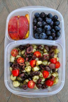 Gnocci with pesto, kalamata olives and grape tomatoes.
