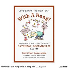 Shop New Year's Eve Party With A Bang And Cartoon Postcard created by gnurf. Happy New Year Message, Happy New Year Quotes, Quotes About New Year, Holiday Invitations, Birthday Invitations, Invitation Cards, Happy New Year Fireworks, New Years Decorations, New Years Eve Party