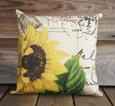 French Pillow Cover Sunflower Throw Pillow Cotton