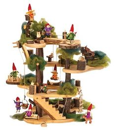 Rustic Wooden Tree Fort with Accessories, Foliage, 15-Piece Furniture Set and 5 Woodland Friends