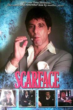 What's in a name..? Quite a lot, if your name is Scarface! A sweet poster of Al Pacino as Cuban gangster Tony Montana in the 1983 film by Brian De Palma. Ships Super Fast. Fully licensed. 40x59 inches