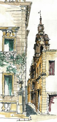 Mdina Malta Watercolor by Jochen Schittkowski Watercolor Architecture, Architecture Drawings, Watercolor Landscape, Landscape Art, Sketch Painting, Watercolor Sketch, Watercolor Paintings, Watercolor Trees, Watercolor Portraits