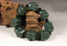 Huij 001498 ручной резьбой природного нефрита будда глава буддийские молитвы бусины браслет амулет браслет купить на AliExpress
