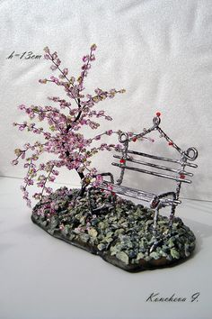 beads bonsai made by hand.
