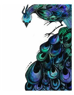Peacock watercolor painting- 11 by 14 inch print. $27.00, via Etsy.