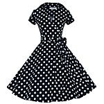 Women's Going out Vintage Cute A Line Dress,Polka Dot Sweetheart Knee-length Short Sleeve Blue White Gray Purple Cotton Polyester Others 2017 - $15.29