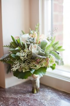 Green bouquet with dusty miller | photography by http://www.harrison-studio.com/