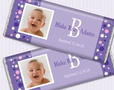 Adorable Polka Dot Purple, White and Pink Baptism Chocolate Bar Favors for Little Girl's Baptism #baptismfavors #whcandy #chocolatefavors