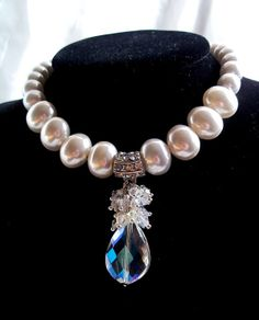 Soft White Shell Pearl Necklace Rainbow by JewelstoTreasure247, $139.00