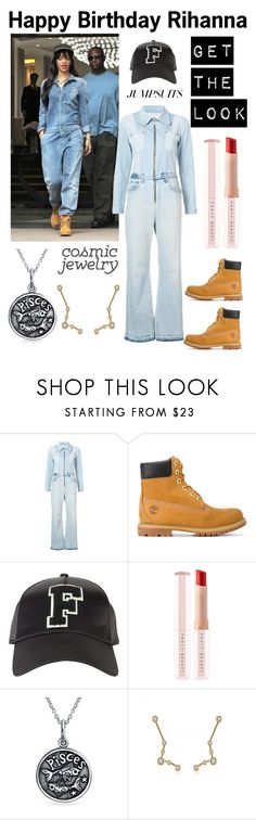 """""""Happy Birthday Rihanna/Cosmic Jewelry/Jumpsuit"""" by im-karla-with-a-k ❤ liked on Polyvore featuring RE/DONE, Timberland, Puma, Bling Jewelry and jumpsuits"""