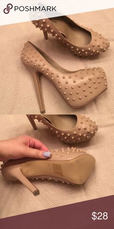 CALL IT SPRING Nude Studded Platforms Brand new! 2 inch platform with 6 inch heel! Super comfortable platforms. Call It Spring Shoes Platforms