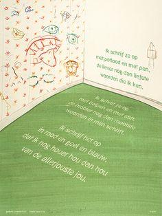 Aan de muur - Poëzieposters - poëzieposter Ik schrijf ze op Koos Meinderts - Plint