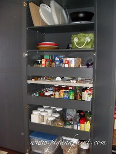 I LOVE this idea!  Use Ikea's PAX closet system as a functional kitchen pantry.  I also love Pig and Paint.  Thanks!