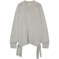 Tibi Tie-side cashmere sweater (€655) ❤ liked on Polyvore featuring tops, sweaters, light gray, oversized cashmere sweater, side tie top, oversized sweaters, light grey sweater and tibi